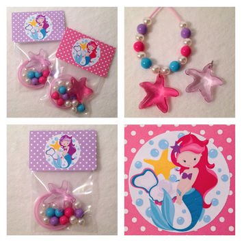 """8 - Mermaid Under the Sea 16"""" DIY Necklace Kits Birthday or Slumber Party Favor Mermaid Party Favors Beach Party Starfish Necklace"""