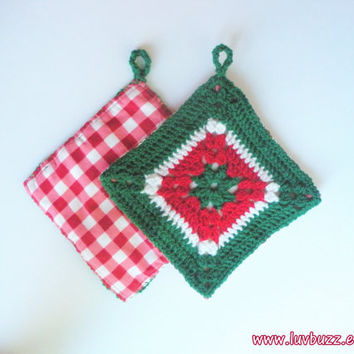 Crochet Hot Pad Trivets in Red, Green and White Granny Squares, set of two, ready to ship.