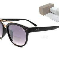 Dior Round Glasses Mirrored Flat Lenses Street Fashion Metal Frame Women Sunglasses [2974244659]
