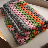 Pram blanket, crochet stroller cover, gray, pink, orange and green in geometric pattern, warm acrylic blanket