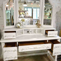 Painted Cottage Chic Shabby Romantic French Vanity and Mirror
