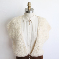 Vintage 70s Soft & Cozy Ivory Sweater Vest // Oversized Fluffy Knit Top