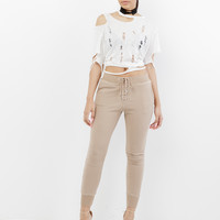 TIE'S THE LIMIT LACE UP SWEATPANT - TAN