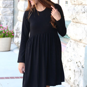 Too Sweet Knit Sweater Dress {Black}