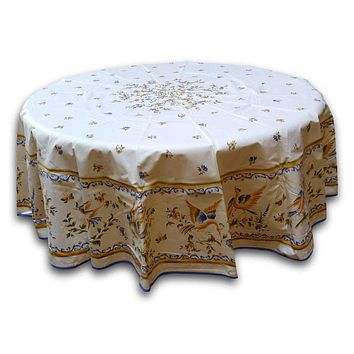 French Provencal Round Tablecloth Rectangular Acrylic Coated Cotton Floral Bird