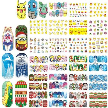 2017 NEW 48Sheets Cartoon/Christmas Nail Art Water Transfer Stickers Decals Snow Flower Beauty Full Wraps Manicure LASTZ392-439