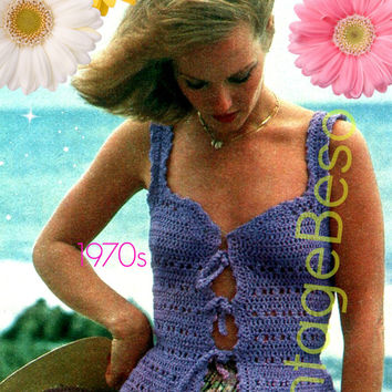 Top Crochet Pattern 1970s Vest Crochet Pattern Boho Clothing Tiny Little Summer Vest Top Pattern Lilac Lace Instant Download PDF Pattern