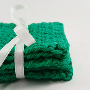 Six Washcloths, Square Face Scrubbies, Mod Green Color, Set Of Six, Bath And Beauty, Bath Accessories, Cotton washcloths, crochet washcloths