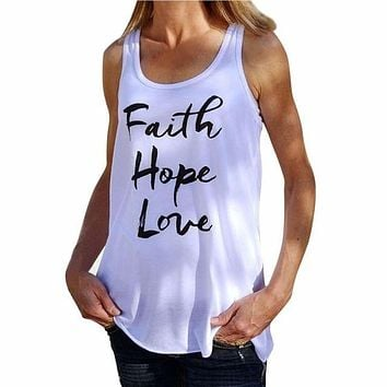 Women Shirt Faith Hope Love Letter Pattern Round Neck Tank Sleeveless Tops Summer Soft Cotton T-shirt