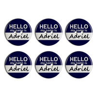 Adriel Hello My Name Is Plastic Resin Button Set of 6