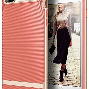 iPhone 7 Plus Case / iPhone 8 Plus Case, Caseology [Wavelength Series] Slim Protective Textured Grip Drop Protection for Apple iPhone 7 Plus (2016) / iPhone 8 Plus (2017) - Coral Pink