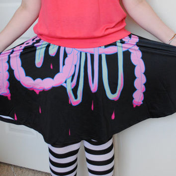 Guro Guts Skater Skirt - Goth / Horror Creepy Intestine Print Black Skirt - One Size Fits Most Skater Skirt