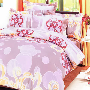 Misty Roses 100% Cotton 5PC Comforter Set in King Size