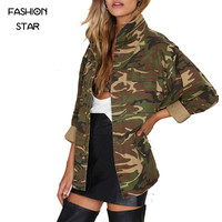 Women's New Arrival Autumn Camo Jacket Long Sleeve Turn Down Collar Zipper Ladies Coat For Womens