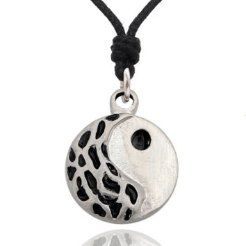 Ying Yang Silver Pewter Charm Necklace Pendant Jewelry