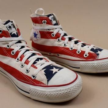 70s 80s vtg rare converse american flag stars stripe lace up ankle boot tennis sho