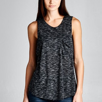 Raw Edge Muscle Tank - Charcoal Grey