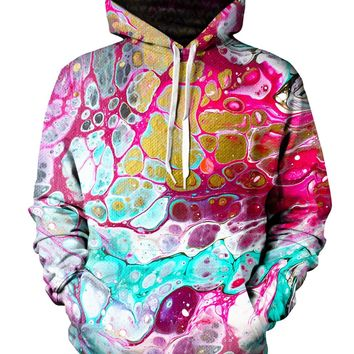 Cellular Psychedelic Marbling Pullover Hoodie
