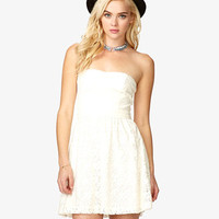 Strapless Floral Lace Dress