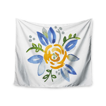 "Jennifer Rizzo ""Yellow Buttercup"" Floral Blue Wall Tapestry"