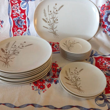 Vintage Melmac Melamine Texas Ware Dinnerware Set- 19 Pieces- Tan Brown & White- Plates- Saucers- Platter- Floral Design