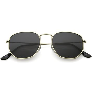 Modern Metal Geometric Sunglasses Slim Arms Neutral Flat Lens 51mm