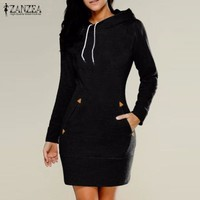 Women Hooded Above Knee Casual Polyester Dress 0923-11