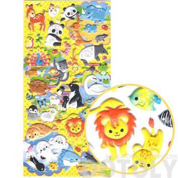 Panda Penguin Lion Cheetah Safari Animal Themed Puffy Stickers | 2 Sheets