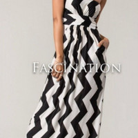 Ocean Breeze Vertical Chevron Stripe Dress - Black