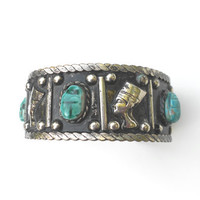 Vintage Egyptian Revival Bracelet, Silver Cuff, Turquoise pottery Scarabs, Nefertiti Vintage Cuff
