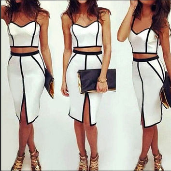 Women's Sexy White Clubbing Party Dress Crop Top+Skirt Outfit = 1945754244