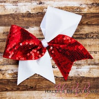 Red & White Cheer Bow
