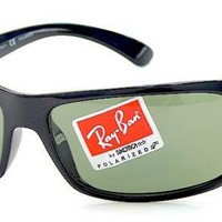 Ray Ban RB4075 4075 601/58 Black RayBan Wrap Polarized Sunglasses 61mm
