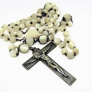 Antique French, Large, Mother Of Pearl, Rosary, Hartman Crucifix