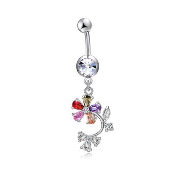 Chic Navel Piercing Lotus Ombligo Many Color Petal Belly Button Rings Industrial Piercing AAA Zircon Nombril Pircing