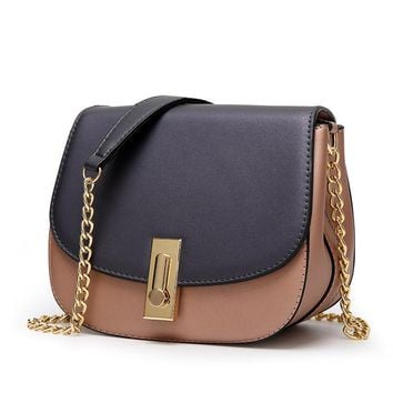 Women Saddle Bag Shoulder Bag Leather Handbag New 2017 Small Lock Charm Fashion Lady Chain Crossbody Bag Purse