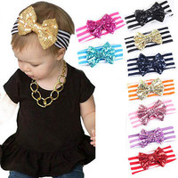1 X Baby Sequin Bow Head wrap Cotton Head Wraps Baby headbands Newborn U7