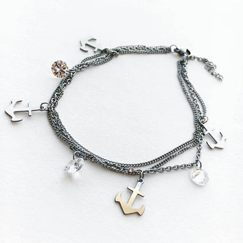 Anchor Anklet • Silver Ankle Bracelet • Layered Anklet • Anchor Ankle Bracelet • Beach Wedding • Bridal Party Gifts  | 0070AM