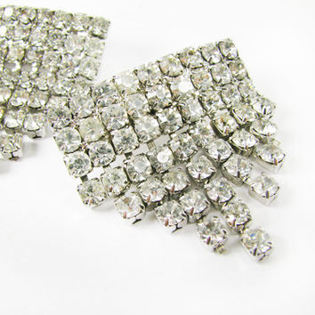 Vintage Rhinestone Shoe Clips, Art Deco Style, Bridal / Vintage Wedding Rhinestone Shoe Clips.