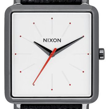 Women's Nixon 'The K Squared' Leather Strap Watch, 32mm x 30mm - Black/ White