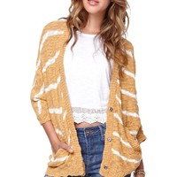 LA Hearts 3/4 Sleeve Striped Cardigan - Womens Sweater - Yellow