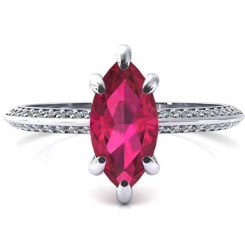 Nancy Marquise Ruby 6 Prong 1/2 Eternity Diamond Knife Shank Accent Engagement Ring