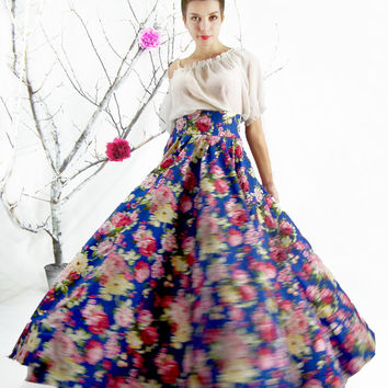 Maxi Skirt , Jeans Skirt, Circle skirt, Full skirt, Long Floral Skirt, Floor length High Waisted Skirt, Plus Size Maxi Skirt, Boho Skirt