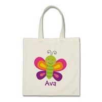 Colorful Butterfly Personalized Tote Bag
