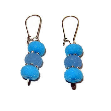 Light Blue and Blue Sparkle Dangle Earrings