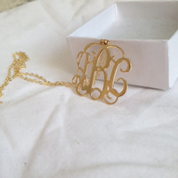LARGE Monogram, 1 inch Gold Monogram, Gold Monogram necklace, High Quality Jewelry, High quality Monogram necklace, monogrammed initial gold