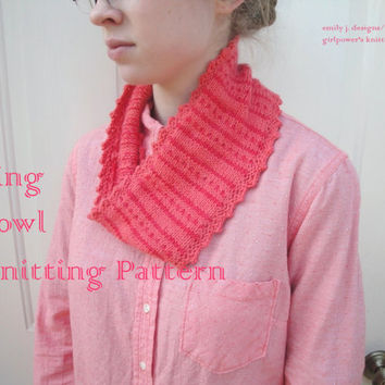 Bing Cowl Scarf Knitting Pattern, Color Work, Polka Dot, Picot Edge, Striped, Worsted DK Yarn