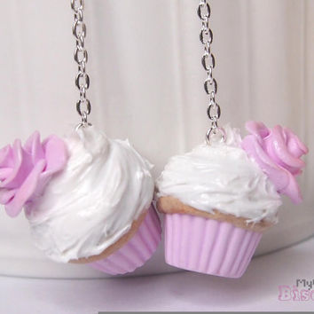 Cupcake Earrings - Frosting and Roses - 925 Sterling Silver