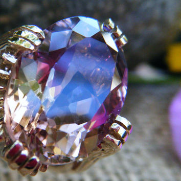 Huge, exquisite AMETRINE in gold statement ring - natural gem with distinct zones of amethyst and citrine