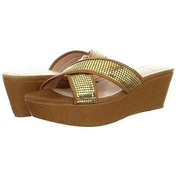 Stuart Weitzman Womens Extrovert Leather Slide Wedges